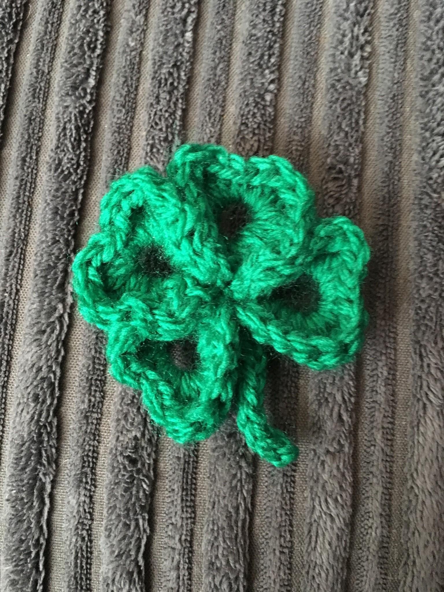 Lucky Four Leaf Shamrock Crochet Brooch Front