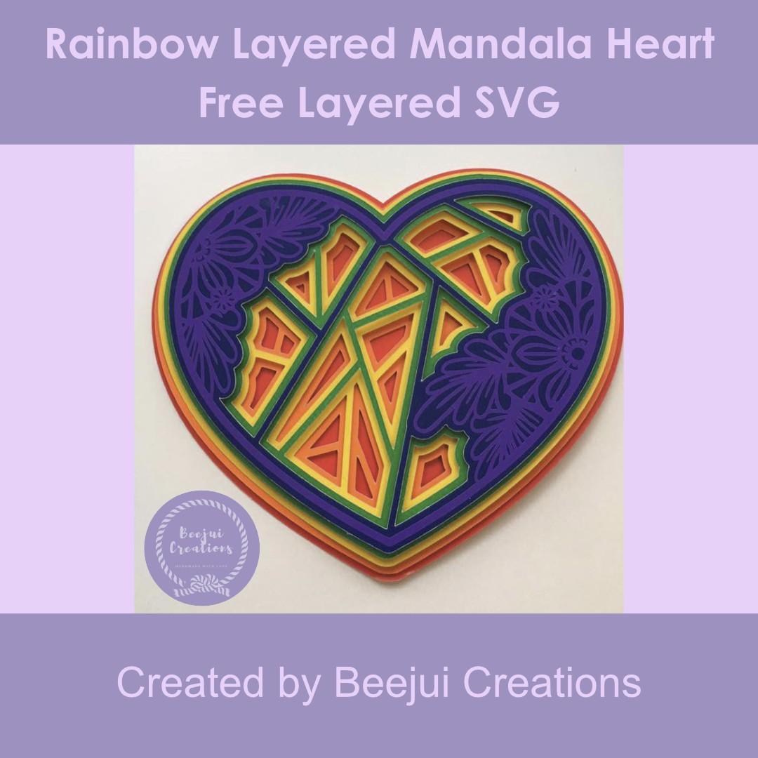 Rainbow Layered Mandala Heart
