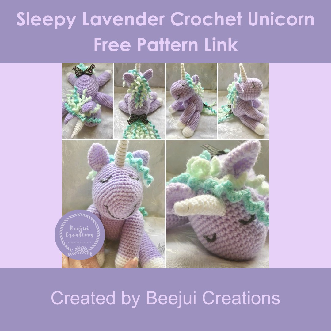 Sleepy Lavender Crochet Unicorn
