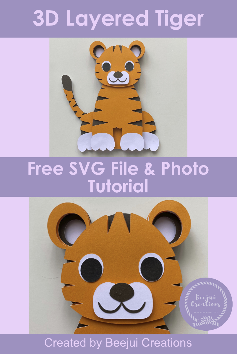 3D Layered Tiger SVG Free File & Tutorial